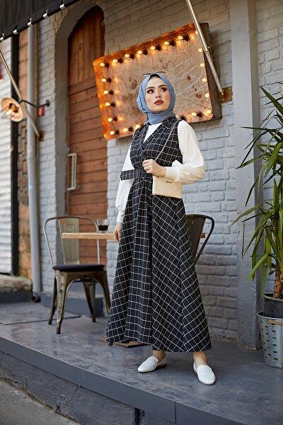 837-066 Kare Desen Jile Elbise Tesettür Kombin Siyah
