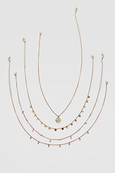 Kadın Sarı 4'Lü Str Madalyon Uçlu Ve Kristal Kolye Seti 03108004