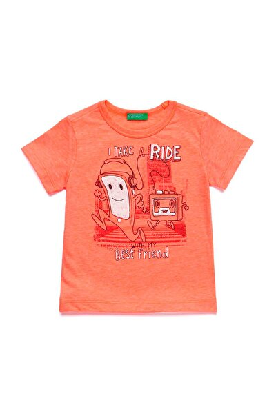 Fosforlu Pembe Çocuk Kasetçalar Baskılı Fosforlu Tshirt