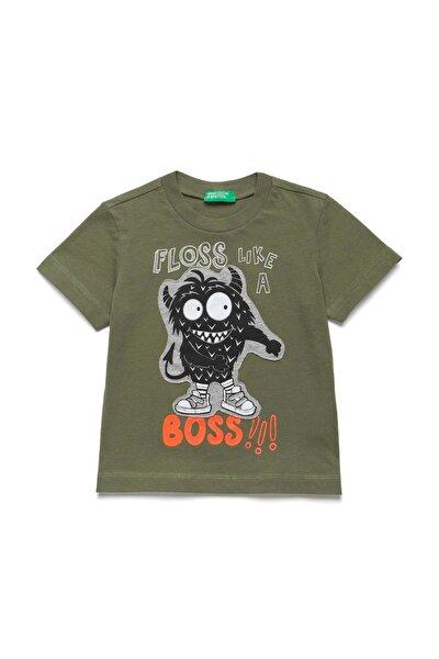 Haki Çocuk Cananvar Baskılı Tshirt