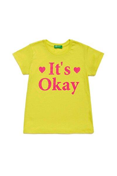 Fıstık Yeşili Çocuk Slogan Yazılı Tshirt