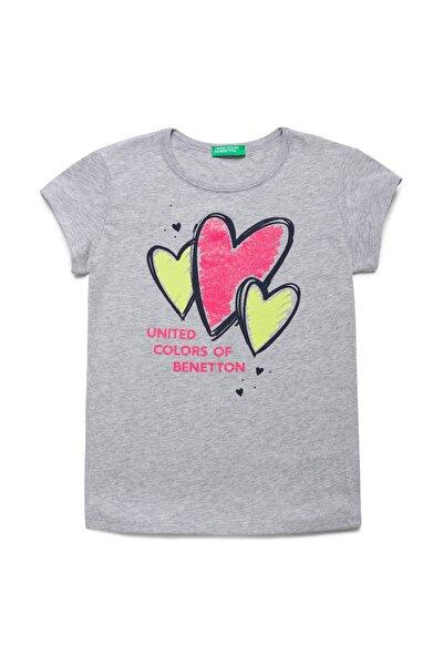 Gri Melanj Çocuk Benetton Logo Baskılı Tshirt
