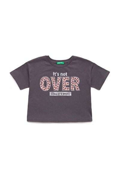 Antrasit Çocuk Slogan Baskılı Boxy Tshirt