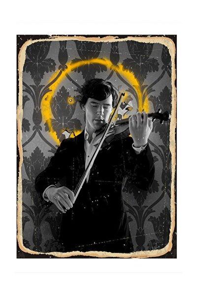 Keman Çalan Sherlock Dekoratif Ahşap Tablo 25x35cm