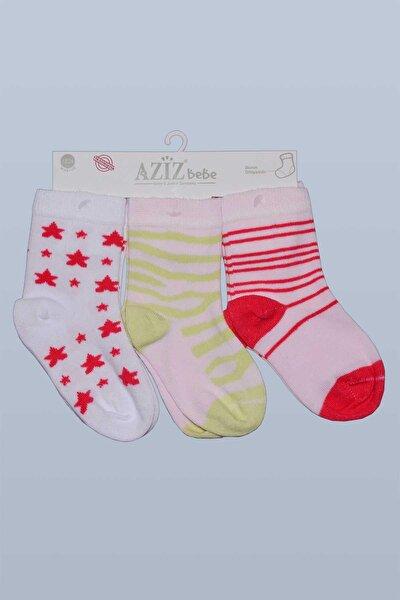 Aziz Bebe Kız Bebek Desenli Çorap 0-24 Ay 35556