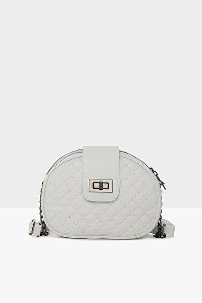 Beyaz Kadın Üç Fermuarlı Kilitli Çanta M000003518