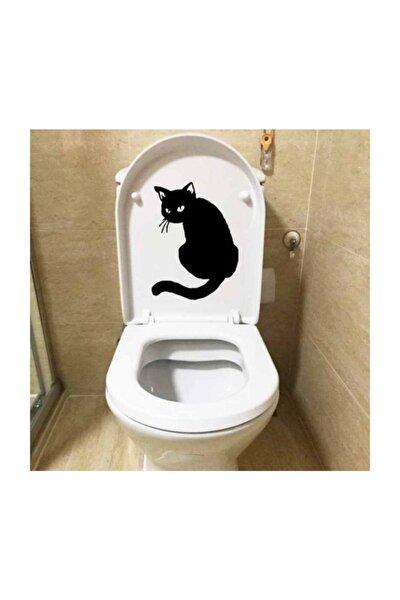 Kedi Klozet Sticker Yapıştırması Sticker