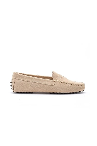 Kadın Loafer Ayakkabı Deri Bej Süet