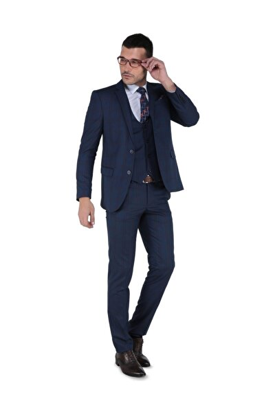 Panamera Dar Kesim Yelekli Takım Elbise - Parlament - 3B4M0434D256