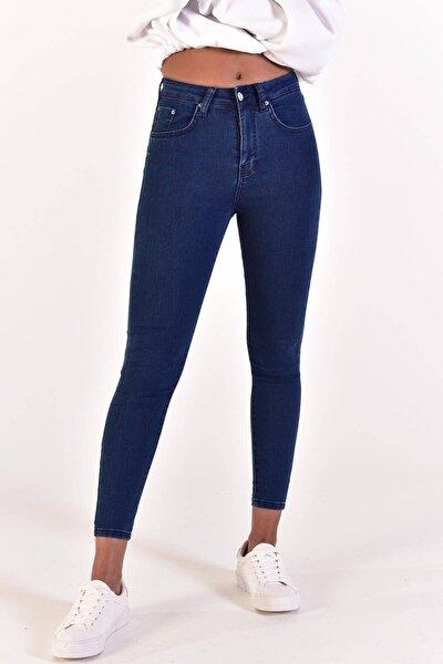 Kadın Koyu Kot Rengi Yüksek Bel Pantolon ADX-0000022005