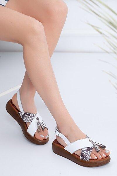 Hakiki Deri Beyaz Leopar Kadın Sandalet Rt-20110