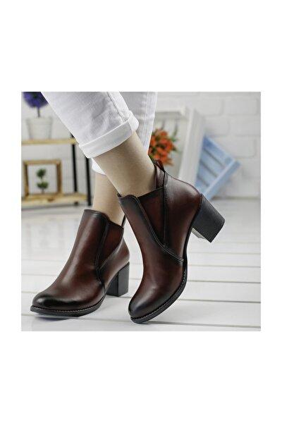 Bordo 6 cm Topuk Cilt Bot Ayakkabı 8422-833