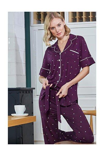Önden Düğmeli Puantiyeli Pijama Takımı