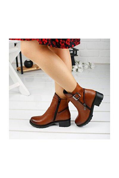 3883-823 Taba Günlük 6 Cm Topuk Fermuarlı Bayan Bot Ayakkabı
