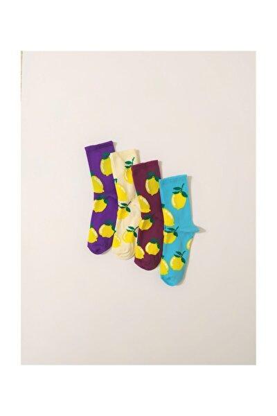 Unisex 4'lü Limonlu Çorap