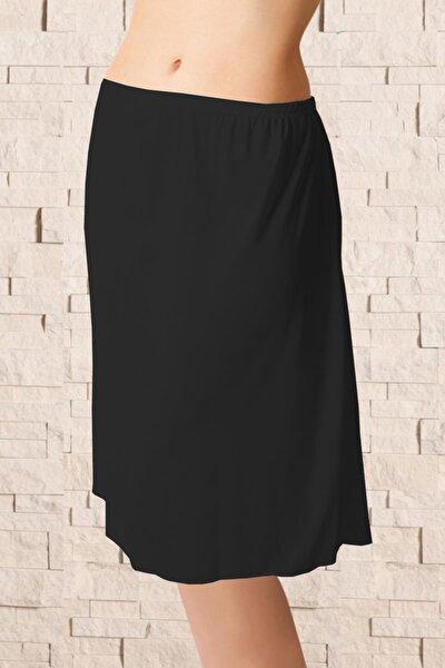 Kadın Sıyah Uzun Polyester Klasik Jüpon Kombinezon