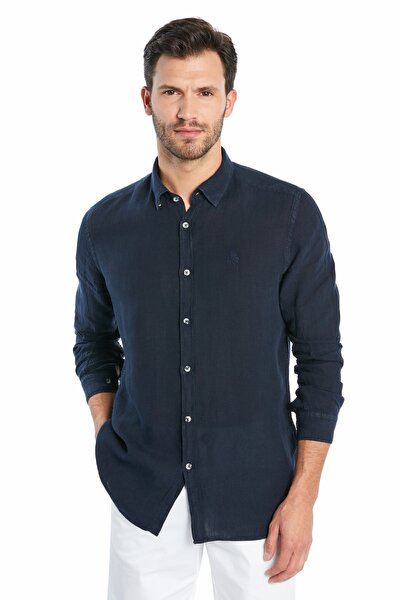 Erkek Casual Keten Gömlek - Navy Blue S20M0220Y1201