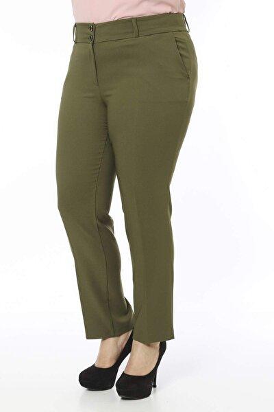 Kadın Haki Bilek Boy Cepli Pantolon PT2136