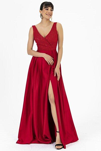 Kruvaze Üstü Pıtırcık Kumaş Altı Saten Yırtmaçlı Abiye Elbise Kırmızı