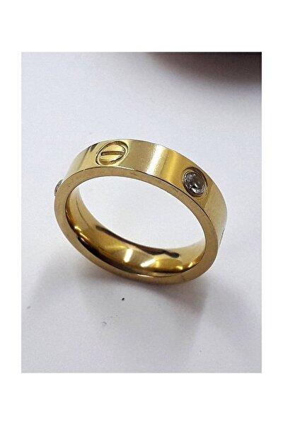 Yeni Trend Paslanmaz Çelik Taşlı Bayan Cartier Yüzük