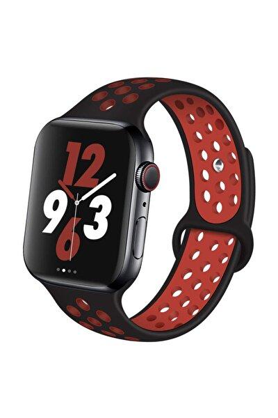 Apple Watch Silikon Delikli Kordon Iwatch Uyumlu Kayış Seri  42 mm/44 mm - Siyah Kırmızı