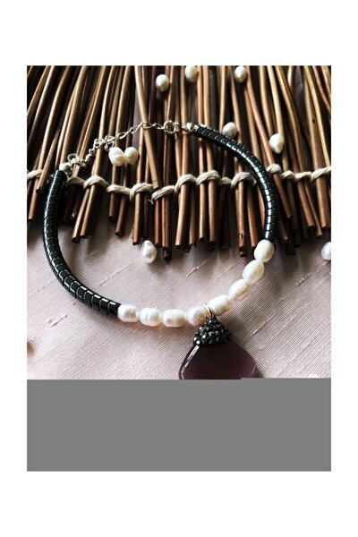 Dr Stone Luxury Collection Kedigözü, Inci Ve Hematit Taşı 925 Ayar Gümüş Kadın El Yapımı Bileklik L