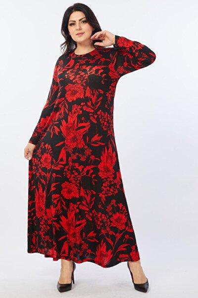 Kadın Siyah Kırmızı Floral Desenli Esnek Viskon Elbise