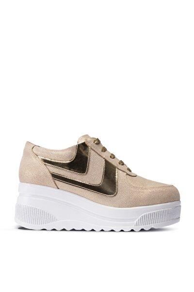 Kadın Altın Rengi Sneaker  Ayakkabı