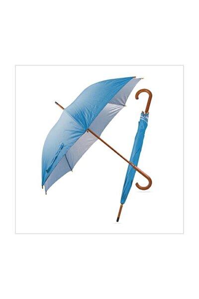 Ahşap Saplı Fiber Glass Kırılmaz Şemsiye (mavi)