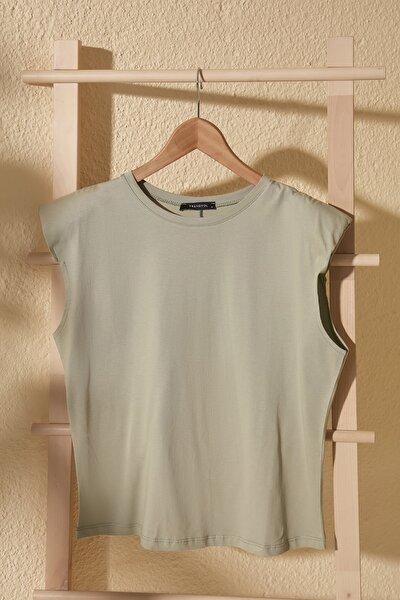 Mint Vatkalı Basic Örme T-Shirt TWOSS20TS1553