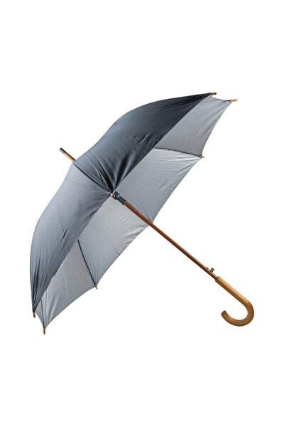 Ahşap Saplı Fiber Glass Kırılmaz Şemsiye (siyah)