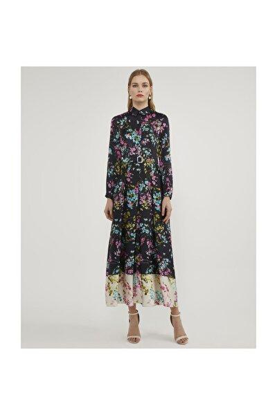 Kemerli Desenli Elbise V42830158