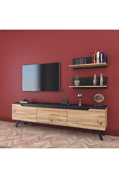 Rani D1 Duvar Raflı Kitaplıklı Tv Ünitesi Ahşap Ayaklı Tv Sehpası Mermer Desenli M48