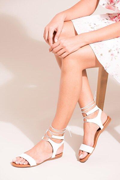 Beyaz Kadın Sandalet B548397509