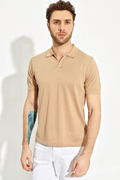 Taba Erkek Polo Yaka Yırtmaçlı Sportriko T-shirt