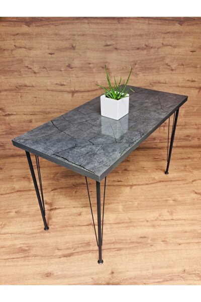 Metal Antrasit Mermer Desen Mutfak Masası 60x120cm