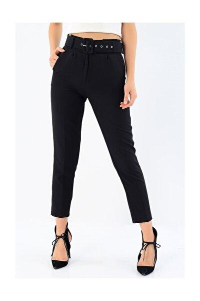 Kemerli Likralı Siyah Havuç Pantalon