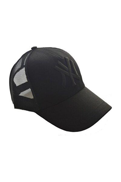 Unisex Fileli Siyah Kep Şapka Siyah Logo