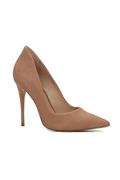 Süet ve Deri Natürel Kadın Klasik Topuklu  Ayakkabı 2028