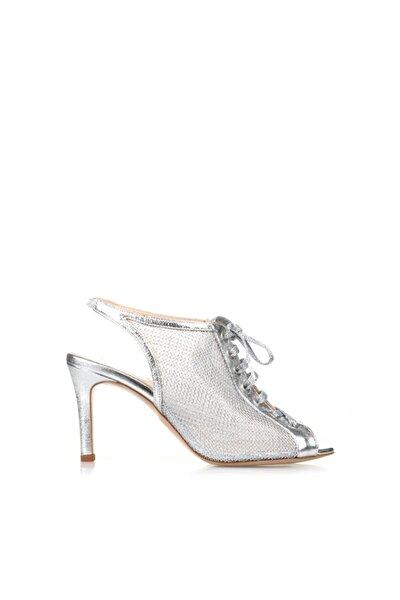 Gümüş Deri File Kadın Ayakkabı
