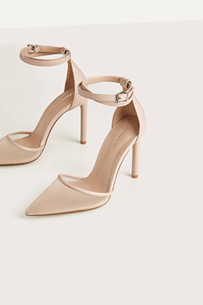 Kadın Bej Pembe Fileli Yüksek Topuklu Ayakkabı 11950560
