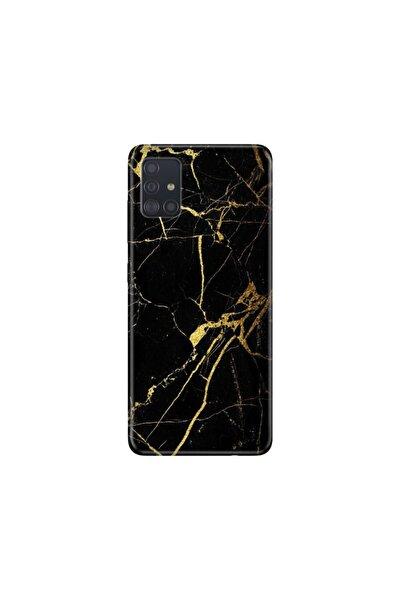 Samsung Galaxy A51 Kılıf Desenli Esnek Silikon Telefon Kabı Kapak - Sarı Siyah Mermer