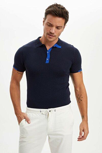 Erkek Lacivert Polo Yaka Triko T-Shirt N6713AZ.20SM.NV64