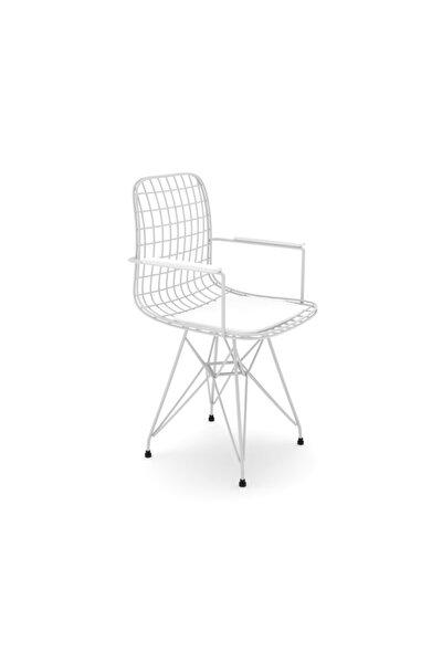 Beyaz Kolçaklı Ofis Cafe Bahçe Mutfak Kafes Tel Sandalyesi Tekli