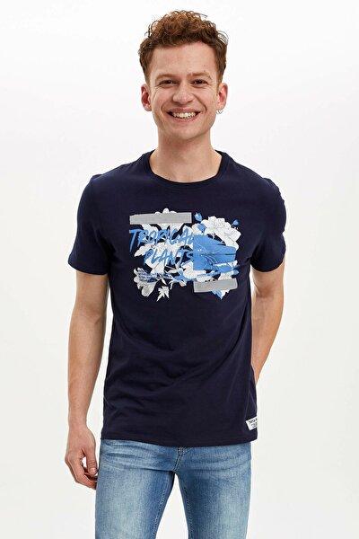Erkek Çivit Mavisi Baskılı Slim Fit T-Shirt N1816AZ.20SM.IN75
