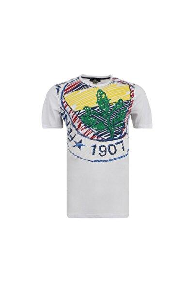 Unisex Çocuk Beyaz Tribun Eskiz Logo Spor T-Shirt