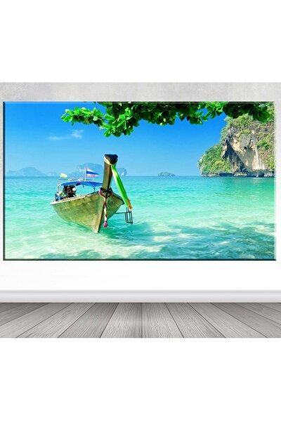 Dev Boyut Tayland Gondol Ve Deniz Manzara Kanvas Tablo -100x140 Cm Sb-95913