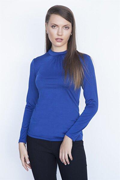 Kadın Saks Uzun Kol Bluz K19Pe506