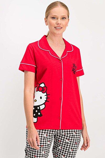 Kadın Lisanslı Kırmızı Gömlek Pijama Takımı