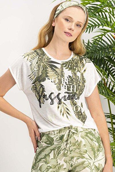 Kadın Amazon Tropical Krem Pijama Takımı